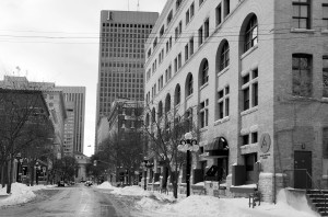 Looking West towards Portage and Main. The Richardson Building in the distance marking the end of the Exchange District and start of some of Winnipeg's tallest building found along Portage Avenue .