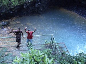 Felix and Fernando and the base of the Waterfall