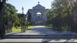 "St. Boniface Cathedral-Basilica on the Eastern Banks of the Red River facing 'The Forks' and the ""Human Rights Musuem'"
